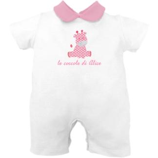 Pagliaccetto neonata bianco e rosa