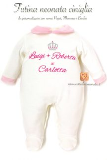 tutina neonata bianca e rosa da personalizzare con nome mamma, papà e bimba