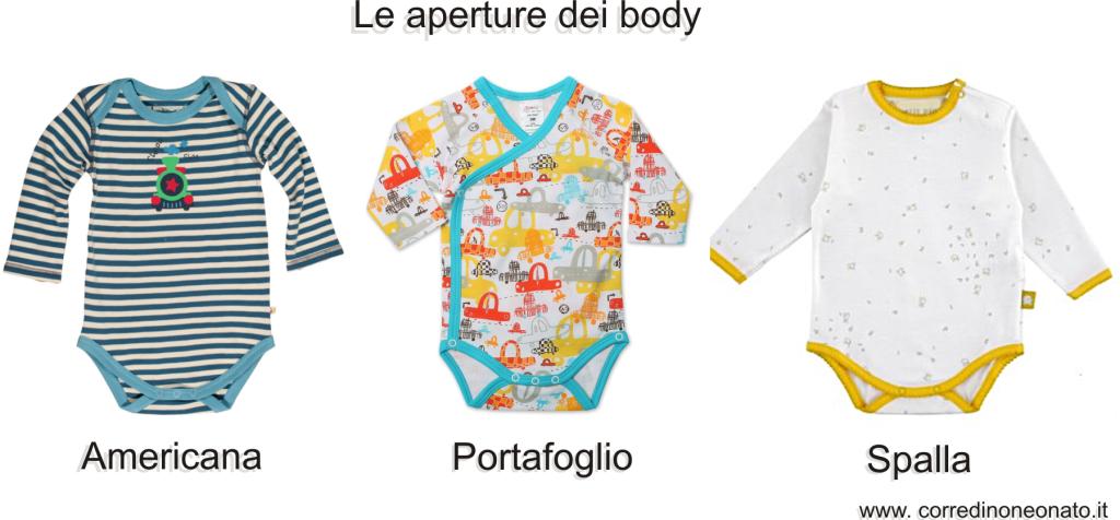 le aperture dei body neonato: americana, portafoglio e spalla