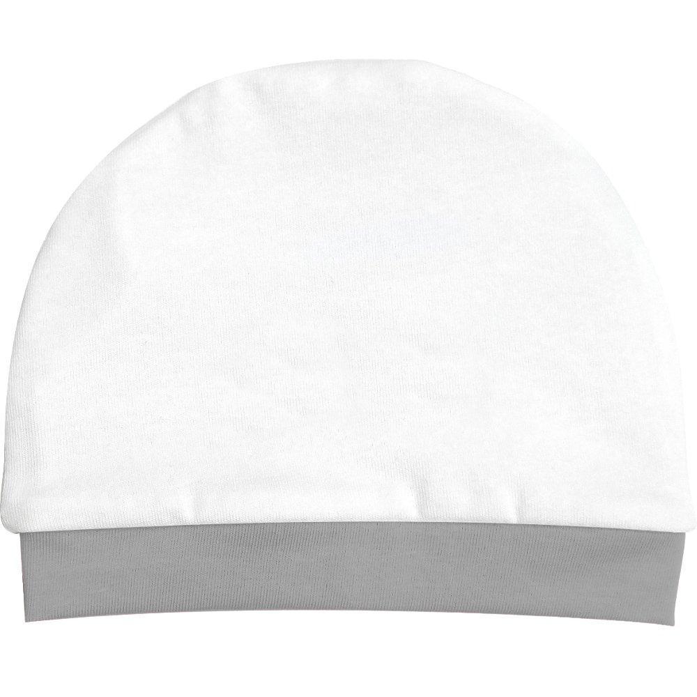 Cappello puro cotone 100% colore bianco bordino grigio