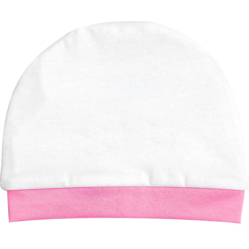 Cappello puro cotone 100% colore bianco bordino rosa