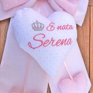 cuore bianco con ricamo Serena