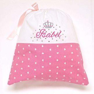 Sacco nascita rosa con brillantini per Isabel