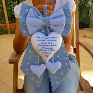 fiocco azzurro neonato con frase