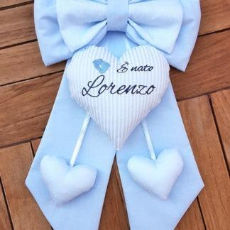 fiocco nascita azzurro bimbo Lorenzo