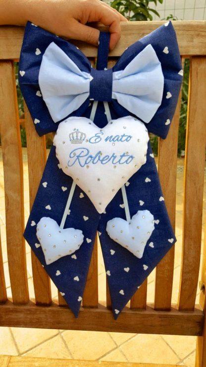 Fiocco nascita con brillanti per Roberto