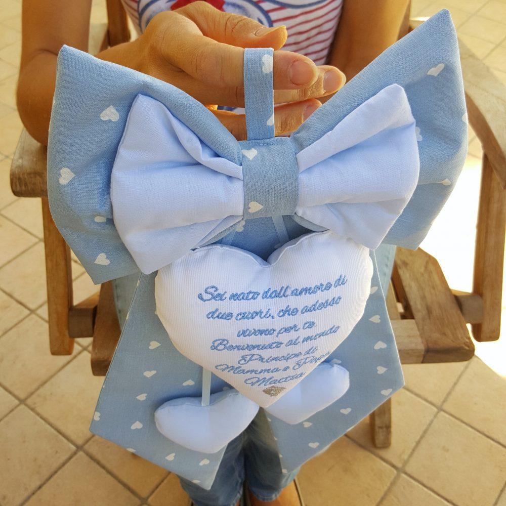 Favoloso fiocco nascita Mattia azzurro con frase d'amore sul cuore AJ07