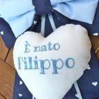 fiocco nascita cuore bianco Filippo