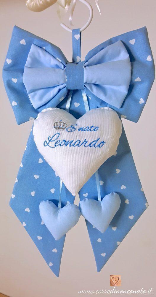 Ben noto Fiocco nascita maschietto azzurro cuori Leonardo, made in italy  KV84