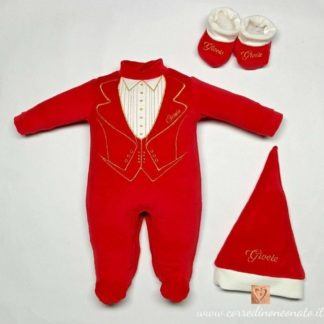 abbigliamento nascita rosso ricamato