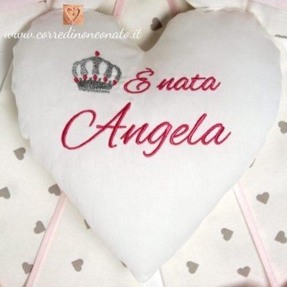 cuore ricamato coccarda nascita bimba Angela