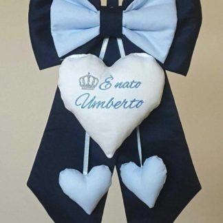 coccarde nascita bimbo blu ricamo è nato Umberto con corona
