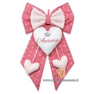 Fiocco nascita bimba Aurora colore rosa