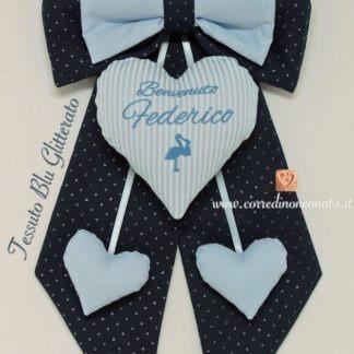 coccarda nascita azzurra blu glitter