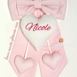 fiocco rosa glitter nascita bimba