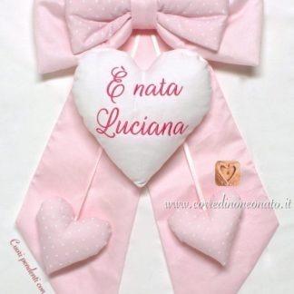 coccarda rosa nascita bimba con frase ricamata