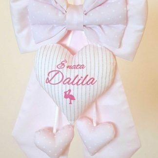 coccarda nascita bimba Dalila rosa