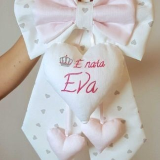 coccarda nascita bimba eva bianco rosa