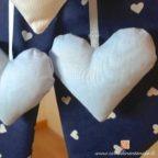 cuori pendenti azzurri della coccarda nascita bimbo leonardo