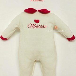 tutina neonata rossa e bianca