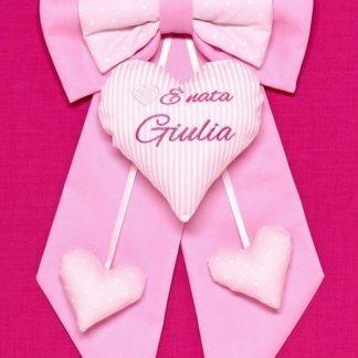 fiocco nascita bimba rosa con pois bianchi