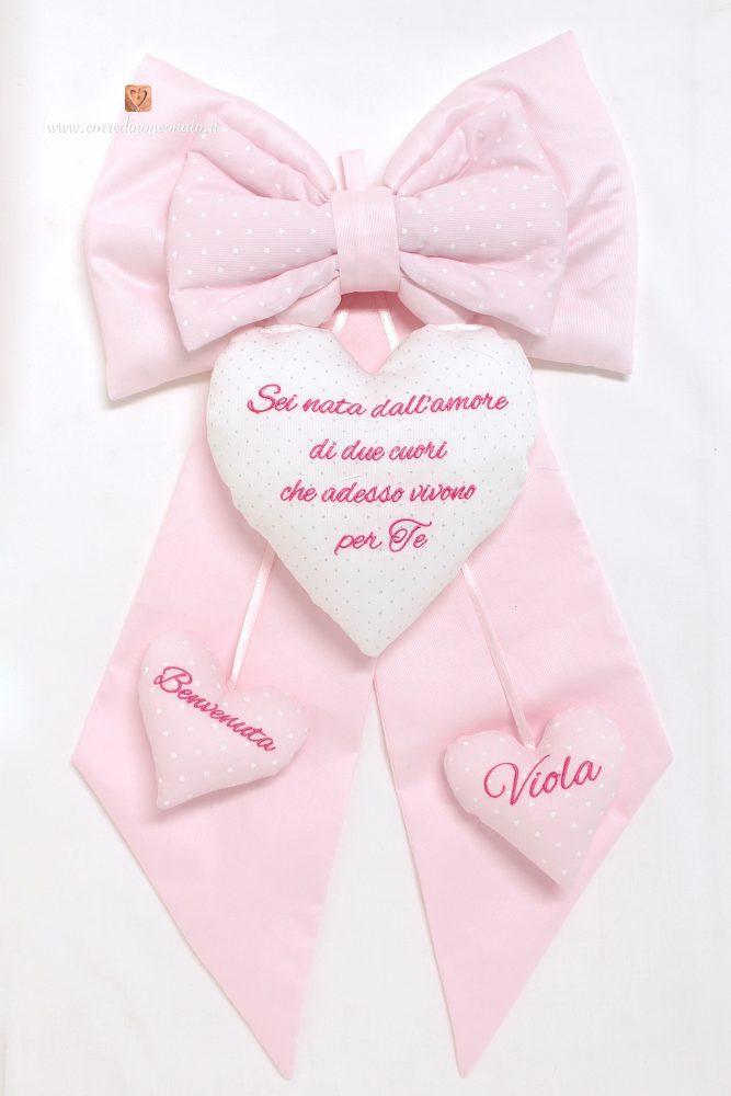 spesso Fiocco nascita frase e nome Viola, rosa e due cuori pendenti XQ51