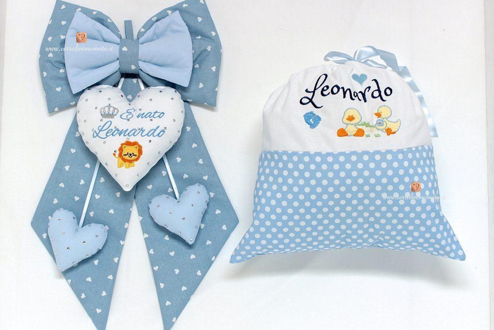 Sacco nascita leonardo con ricami bianco e azzurro - Sacco letto bimbo ...