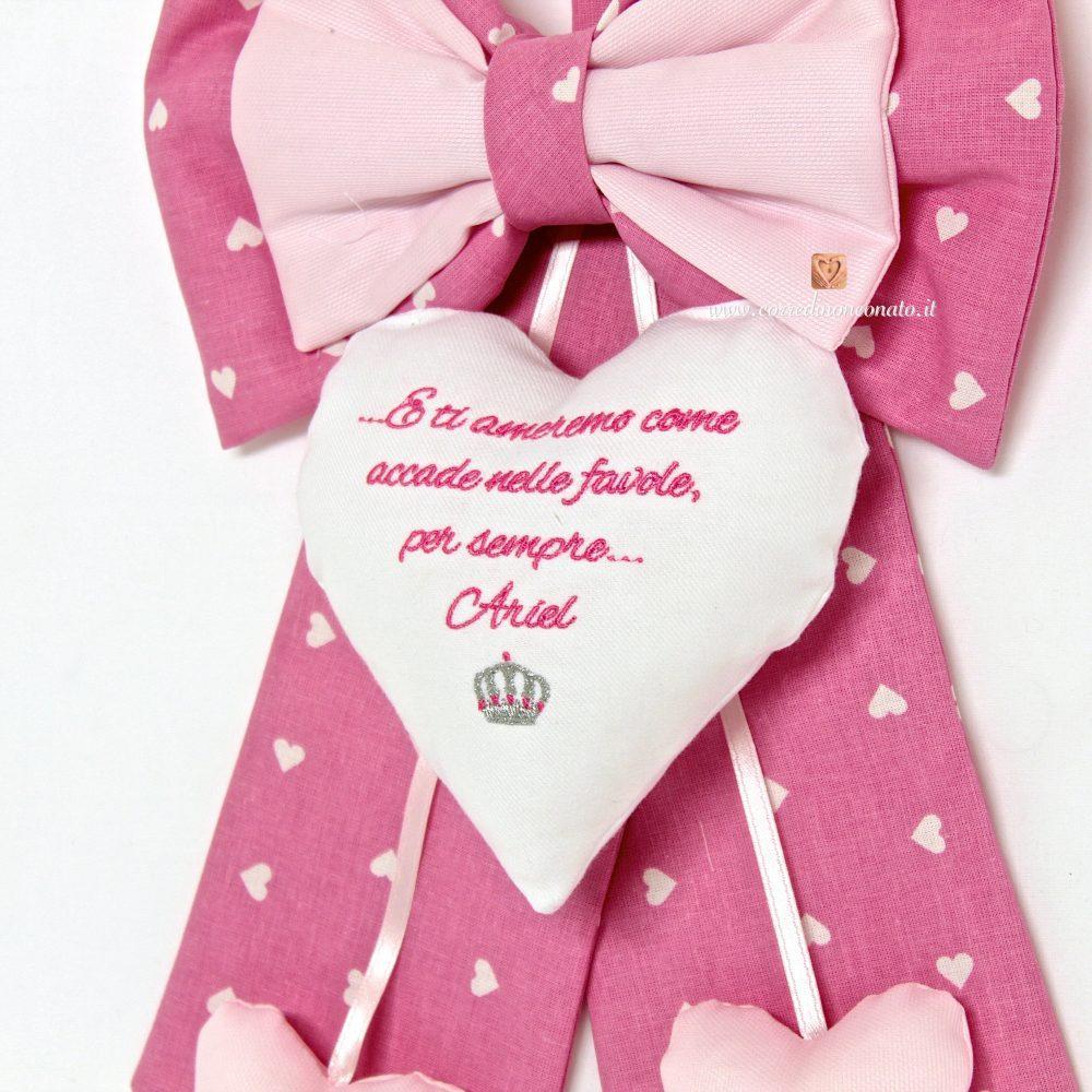Favoloso Fiocco nascita rosa nome Ariel, con corona e frase QW65