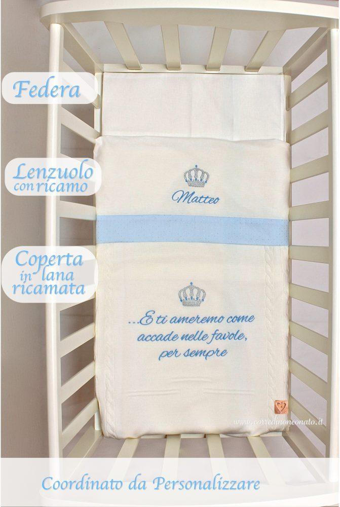 Amato Coperta lana culla frase ricamata Matteo, bianca e corona ricamata QI48