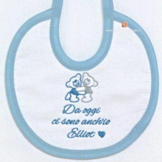 Bavetta neonato con bordino azzurro per Elliot