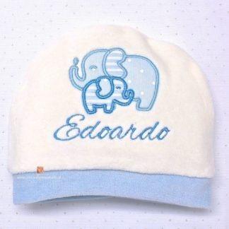 Cappello nascita in ciniglia per Edoardo