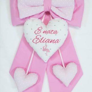 Fiocco nascita rosa con brillanti e ricamo cicogna per Eliana