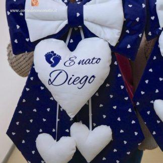 Fiocco nascita blu con piedini per Diego