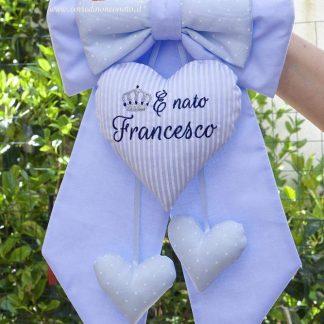 Fiocco nascita azzurro a righine e pois per Francesco