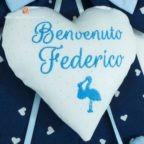 Cuore fiocco nascita Benvenuto Federico
