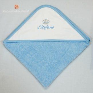 Accappatoio azzurro con corona per Stefano