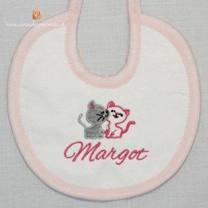 Bavetta bianca e rosa con gattini per Margot