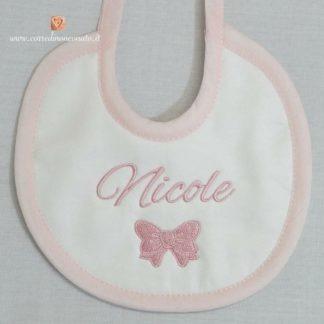 Bavetta bianca e rosa con fiocchetto per Nicole