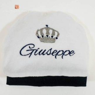 Cappello bianco e blu con corona per Giuseppe