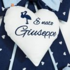 Fiocco nascita blu con cicogna per Giuseppe