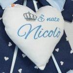 Fiocco nascita blu con corona E' nato Nicolò