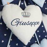 Fiocco nascita blu con corona e nome Giuseppe