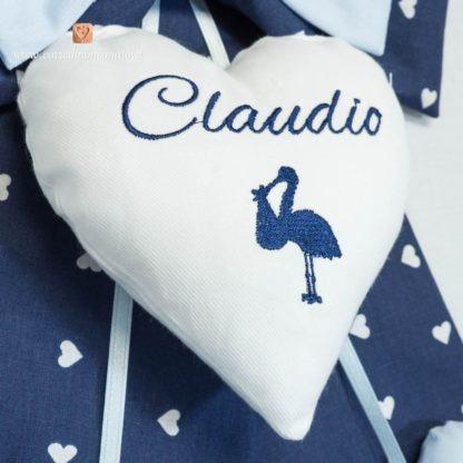 Fiocco nascita blu con ricamo cicogna Claudio