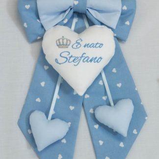 Fiocco nascita azzurro con corona E' nato Stefano