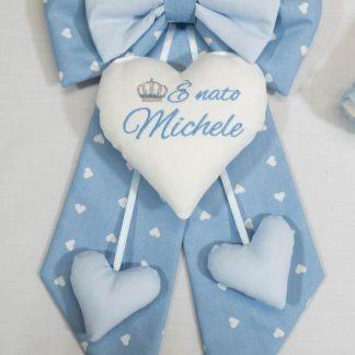 Fiocco nascita azzurro con corona E' nato Michele