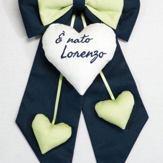 Fiocco nascita blu e verde E' nato Lorenzo