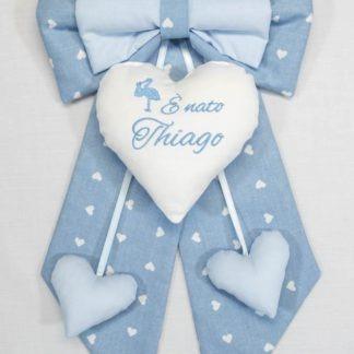 Fiocco nascita azzurro con cicogna E' nato Thiago