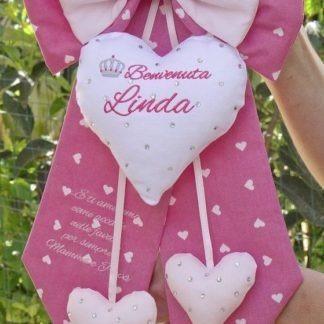 Fiocco nascita con brillanti e frase per Linda