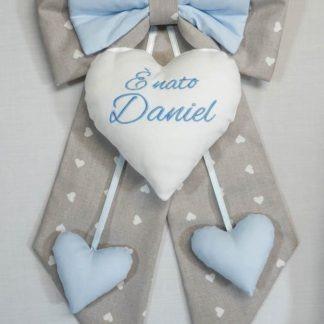 Fiocco nascita grigio e azzurro per Daniel