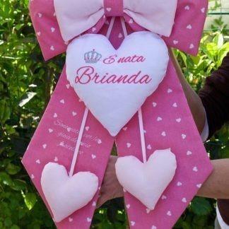 Fiocco nascita rosa con frase e coroncina per Brianda